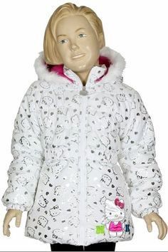 d82c70d12 Hello Kitty Girls HK035 Fleece Lined Hooded Winter Jacket (4, White) Winter  Puffer