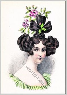 1830 france hair | Romanticism hairstyle. French Historical hairdos.Victorian fashion