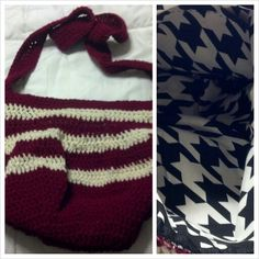 Alabama themed hand crafted crochet shoulder bag. Houndstooth lining with pocket and zipper closure. $35