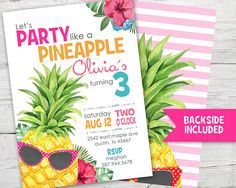 Party Like a Pineapple Invitation, Party Like a Pineapple, Pineapple Party Invitation from PartyMonkey on Etsy