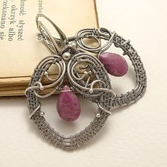 Silver wire wrapped earrings with ruby  by MadeBySunflower on Etsy, $125.00