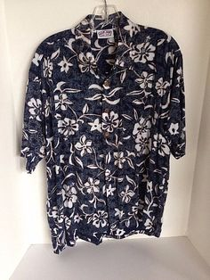 Ron Jon Surf Shop Blue Reverse Print Hawaiian Shirt Men Medium Hibiscus Plumeria #RonJon #Hawaiian