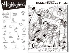 Hidden Picture Games, Hidden Picture Puzzles, Hidden Object Puzzles, Hidden Objects, Summer Camp Crafts, Camping Crafts, File Folder Activities, Activities For Kids, Colouring Pages