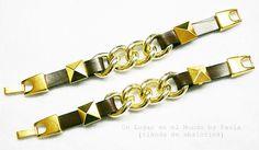 Pulseras de cuero sintético con cadena y tachas doradas. Si quieres ver los materiales entra en nuestro blog http://unlugarenelmundobypaula.blogspot.com