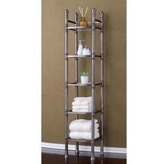 Shop for Best Living Monaco Brushed Titanium Tall Shelf Etagere - Silver. Get free delivery On EVERYTHING* Overstock - Your Online Furniture Outlet Store! Get in rewards with Club O! Bath Furniture, Storage Towers, Tall Shelves, Cabinet Shelving, Shelves, Trendy Bathroom, Tempered Glass Shelves, Bathroom Tower, Bathroom Storage Tower