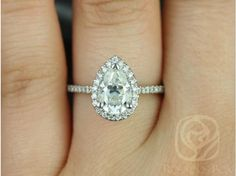 (Size 9.5 $1795) Rosados Box Tabitha 2cts 14kt White Gold Pear FB Moissanite and Diamonds Halo Engagement Ring