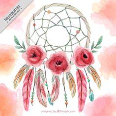 Pintados à mão fundo dreamcatcher com flores e penas Vetor grátis