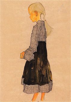Egon Schiele, Austrian girl, 1910. Gouache, charcoal on paper acuarelay.