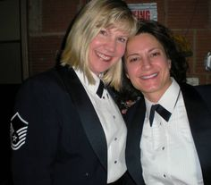 Master Sergeant Cheryl Sizer is seen here, on left, with bandmate, Technical Sergeant Ani Berberian.