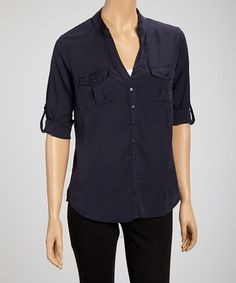 Take a look at this Navy Marine Button-Up by Coupé on #zulily today!