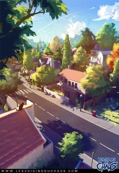 Discover the art of Sylvain Sarrailh, a french illustrator working on 'Les Voisins du Chaos', a free online comic. Environment Concept Art, Environment Design, Bg Design, Matte Painting, Painting Canvas, Animation Background, Anime Scenery, Visual Development, Environmental Art