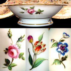 Antique French Pillivuyt Gilt Porcelain Hand Painted Flowers Dessert Set