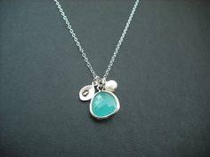 Bridesmaids gift, Wedding Gift, Hand stamped personalized initial necklace - aqua blue bezel glass