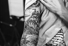 Ship Tattoo inner arm.