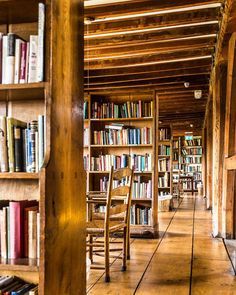 The Bedales Memorial Library in Hampshire, England was designed by Ernest Gimson in the early 20th century and is one of the most important buildings of the Arts and Crafts movement in Britain.   #library #artsandcraftsmovement #architecture #interiordesign #england #hampshire #britain
