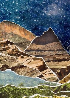 star jar 8 x 10 paper print mason jar mountain poster mixed media collage art moon and stars mountains - The world's most private search engine Collage Kunst, Paper Collage Art, Collage Art Mixed Media, Mixed Media Canvas, Nature Collage, Surreal Collage, Nature Prints, Art Nature, Rustic Wall Art