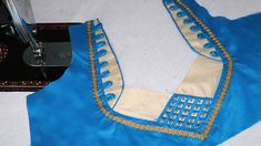 Latest Model Blouse Neck Design Cutting and Stitching At Home 2018 Chudi Neck Designs, Salwar Neck Designs, Neckline Designs, Choli Designs, Blouse Neck Designs, Blouse Styles, Simple Blouse Designs, Stylish Blouse Design, Designer Blouse Patterns