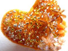 Orange Heart Beaded Brooch Pin a mixed media by shelikesthis