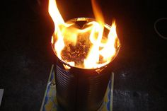 Emergency Candle - sawdust/wood shavings, paraffin wax, 46 oz juice cans - supposed to provide heat for a 9'x12' room for 10 hours