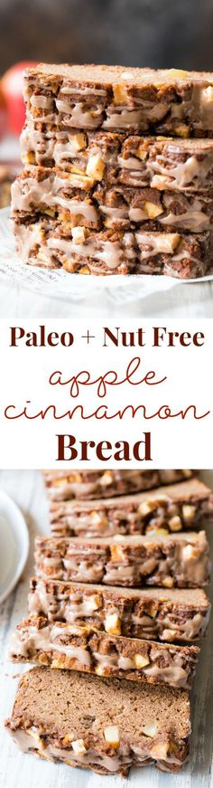 This cinnamon apple bread uses coconut flour to make it grain free, paleo, and nut free! It's sweetened with applesauce and pure maple syru. Apple Cinnamon Bread, Apple Bread, Cinnamon Apples, Paleo Sweets, Paleo Dessert, Dessert Recipes, Apple Desserts, Dairy Free Snacks, Gluten Free Desserts