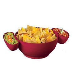 With the Chip Bowl with Two Dip Clips you can serve salads with separate fixings tortilla chips and salsa and guacamole or potato chips and dip