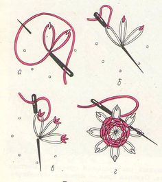flower made by combining lazy daisy stitch and spider stitch ...