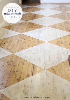 white washed checkered floorboards via (Outdoor Wood Floor) White Wash Wood Floors, Diy Wood Floors, Painted Wood Floors, Pine Floors, Diy Flooring, Kitchen Flooring, Hardwood Floors, Painted Rug, Wood Floor Pattern