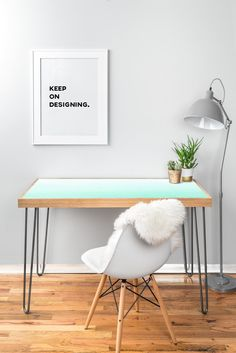 Social Proper Mint Ombre Desk | DENY Designs Home Accessories