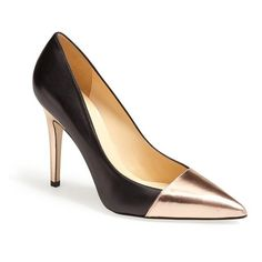 kate spade new york 'leann' pointy toe pump Black/ Rose Gold 8 M found on Polyvore