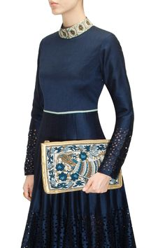 Peacock embroidered gold resin clutch by Hemant and Nandita. Shop now: http://www.perniaspopupshop.com/designers/hemant-and-nandita #clutch #hemantandnandita #shopnow #perniaspopupshop