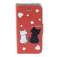 Kinston Romantic Cat Mønster PU Læder Full Body etui med holder til iPhone 5/5S – DKK kr. 55