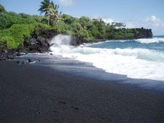 Black Sand Beach at Hana, Maui, Hawaii