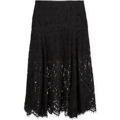 Veronica Beard lace midi skirt ($710) ❤ liked on Polyvore featuring skirts, black, black skirt, midi skirt, lacy skirt, mid-calf skirt and lace skirt