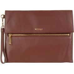 Modalu Womens Red Erin Soft Grain Leather Clutch Bag (415 BRL) ❤ liked on Polyvore featuring bags, handbags, clutches, purses, accessories, brown wristlet, red purse, zip wristlet, brown handbags and fold-over clutches