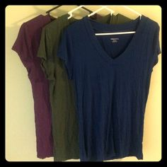 Tees Merona V-neck tees. Green, blue, purple. Very lightweight! Sold together. Tops Tees - Short Sleeve