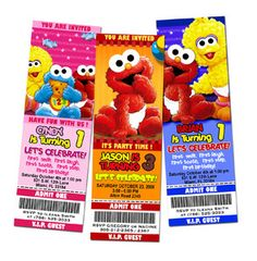 Elmo Sesame Street Birthday Party Invitation Ticket Baby Babies First Elmo Sesame Street, Sesame Street Birthday, Sesame Streets, Baby 1st Birthday, 2nd Birthday Parties, Birthday Ideas, Birthday Cakes, Elmo Birthday Invitations, Invites