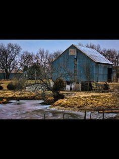 Beautiful blue barn