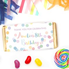 Rainbow Confetti Chocolate Bars | Personalised Rainbow Confetti Party Favours Chocolates.  Click here for details on website and for more matching party stationery from Print & Party.