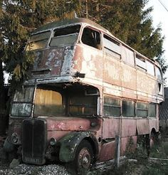 Bus abandoned in the French countryside.