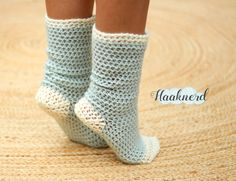 A free crochet pattern with photo tutorial for a pair of warm and comfy chill socks   Haaknerd