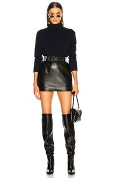 Shop for Equipment Ully Turtle Neck in Peacoat at FWRD. Leder Shorts Outfit, Leder Outfits, Chic Outfits, Trendy Outfits, Fashion Outfits, Fashion 2020, Fashion Brands, Winter Stil, Autumn Winter Fashion