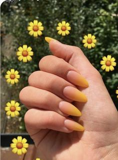 Trendy Yellow Nail Art Designs To Make You Stunning In Summer;Acrylic Or Gel Nails; French Or Coffin Nails; Matte Or Glitter Nails; Almond Acrylic Nails, Best Acrylic Nails, Acrylic Nail Designs, Nail Art Designs, Yellow Nails Design, Yellow Nail Art, White Nail, Acrylic Nails Yellow, White Ombre
