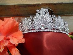 Art Deco Inspired Silver Bridal Tiara, Crystal Wedding Tiara, Unique Bridal Hair Accessories