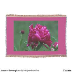 Summer flower photo throw blanket - beautiful deep pink peony flower with border of blanket matched to color of flower