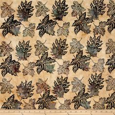 Bali Handpaints Batiks Leaves Amber from @fabricdotcom  Designed for Hoffman International Fabrics, this Indonesian batik is perfect for quilting, craft projects, apparel and home décor accents. Colors include beige, tan, purple, wine and shades of teal.