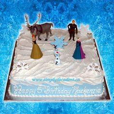 Disney Frozen Square Birthday Cake with Anna, Elsa, Kristoff, Sven & Olaf
