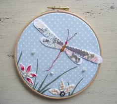 Small Dragonfly Hand Embroidered Hoop Art Picture In Blue