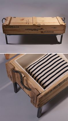 Ballistics Bench - Made with boxes used to transport ammo & explosives, the Ballistics Bench retains the raw wood finish & military markings of its former life & features steel legs.