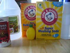 More cleaning product recipes.  I've done the dish detergent and laundry detergent (powder).  Next up are the other cleaning products in our house.  it will be nice to get ride of all the different bottles.