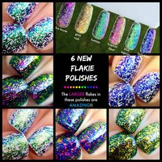 Polish Me Silly - This listing is for a FULL SET of our (3rd release) of 6 LARGER SIZE Flakes in 15ml bottles or 9ml bottles  You can either choose between a Large Full Set or a Mini Full Set! A discount has been applied if you purchase the set instead of buying them individually! :) A discount is not available during flash sales.  Polishes in this set are: Tropical Heat Fantasy Fun House Gold Rush Blue Lagoon Forbidd...